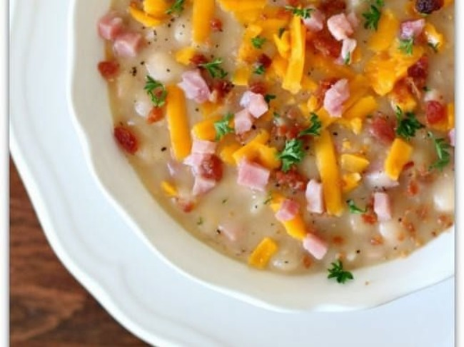 236 Slow Cooker White Bean Soup With Ham  Bacon And Cheddar