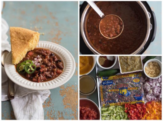 370 Instant Pot Veg Chili Collage