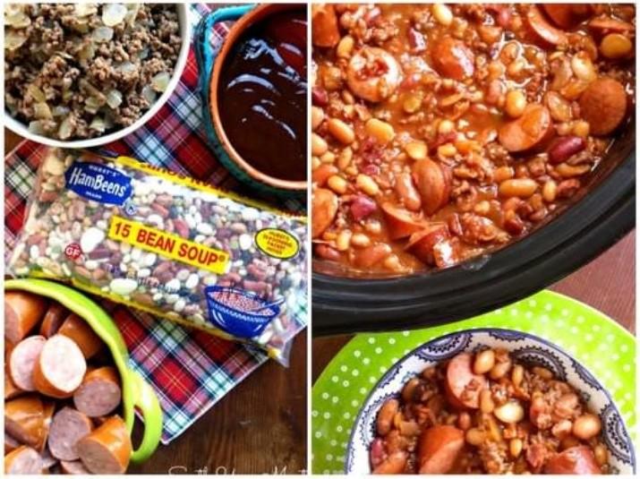 3 Meat Crock Pot Cowboy Beans